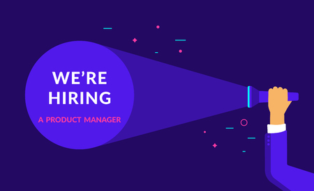 We are hiring a product manager flat vector neon illustration for ui ux web and mobile design with text copy space. Employment recruitment business concept for hr announcement and business hire Standard-Bild - 115007238