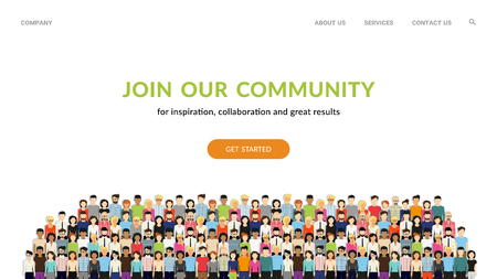 Join our community. Flat concept vector website template and landing page design for invitation to summit or conference. Crowd of united people as a business or creative community standing together Standard-Bild - 112242053
