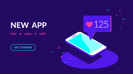 New app or social networks for chatting, blogging and sharing news. Flat vector neon website template and landing page design of smartphone with speech bubble message from friends in social networks Standard-Bild - 112242055
