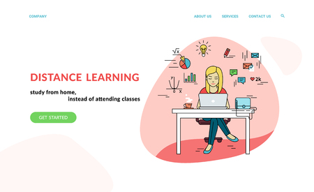 Working with laptop at workplace. Flat concept vector website template and landing page design of student studying at home with social media and education symbols such as chart, diagram, graph Standard-Bild - 112242056