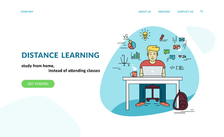 Working with laptop at workplace. Flat concept vector website template and landing page design of student studying at home with social media and education symbols such as chart, diagram, graph Standard-Bild - 112242057