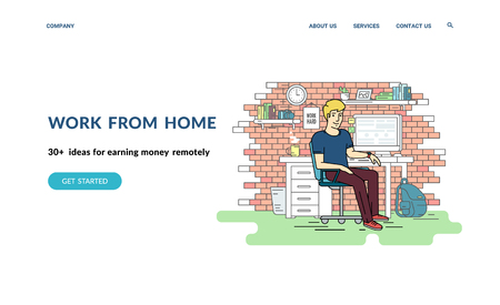 Work from home and earn moneny remotely. Flat concept vector website template and landing page design of teenage student or programmer sitting at his workplace with computer at home and working