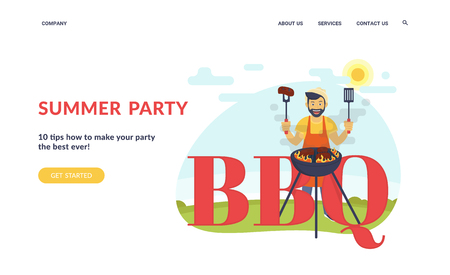 BBQ party in backyard. Flat concept vector website template and landing page design of smiling guy is cooking steak barbecue outdoors. Funny hipster standing with letters cooking bbq for his friends Standard-Bild - 105855427