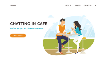 Couple sitting in the cafe, flirting and chatting together. Flat concept vector website template and landing page design of students talking about something in cozy place Standard-Bild - 105855429