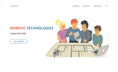 Robotic technologies classes for kids. Flat vector illustration for website and landing page design of group of children with thumbs up with laptops and remotely controlled vehicle robot on the table Standard-Bild - 112218053