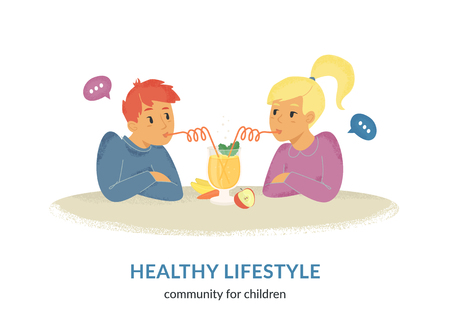 Healthy lifestyle community for kids. Flat vector illustration of two cute children sitting together at the table, drinking fruit smoothie or juice and talking. Young happy friends spend time chatting Standard-Bild - 106807367
