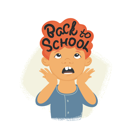 Back to school inscription on redhead hair. Flat vector illustration of stressed boy screaming due to he has to go school on 1 of September. Creative modern design for preparing for schooling