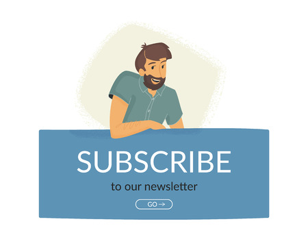 Subscribe to our newsletter. Flat vector illustration of smiling friendly man sitting on banner and suggesting email subscription for news and promo offers. Modern design for website and landing page Standard-Bild - 111964852