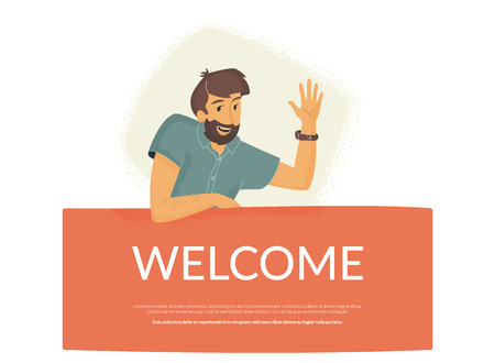 Welcome to our community. Flat vector illustration of smiling friendly man sitting on banner and waving his hand to greet new user or colleague. Modern design for website greeting and landing page Standard-Bild - 111964853