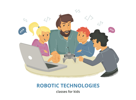 Robotic technologies classes for kids. Flat vector illustration of male teacher sitting with group of children at the table and explaining how coding robots. Kids looking at their coach and laptop Illustration