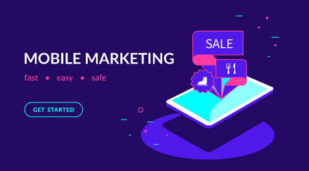 Mobile marketing, offer personalizing and promotion. Flat vector neon website template and landing page design of isomenric digital tablet with marketing tags on the screen