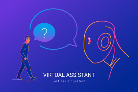 Virtual assistant and voice recognition concept gradient line vector illustration of people asking voice assistant without missunderstanding. Man standing and and talking to big ai head Standard-Bild - 111636410