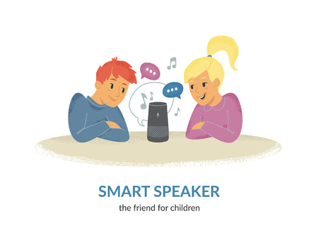 Smart speaker is the friend for children. Flat vector illustration of two cute children sitting together at the table and talking with voice command device. Young happy friends and virtual assistant. Standard-Bild - 111636411