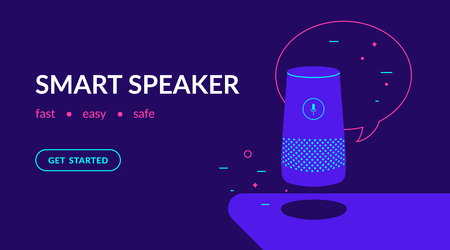 Smart speaker, voice command device with integrated virtual assistant. Flat vector neon website template and landing page design of speaker with speech bubble and message Vectores