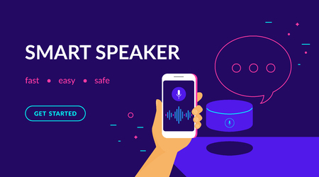 Smart speaker, voice command device with integrated virtual assistant. Flat vector neon website template and landing page design of human hand holds smartphone connected to speaker with speech bubble Standard-Bild - 111636413