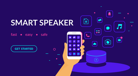 Smart speaker, voice command device connected to smartphone and useful apps. Flat vector neon website template and landing page design of human hand with smart phone mobile applications and speaker Standard-Bild - 111011977