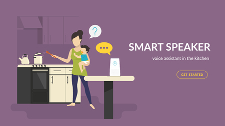 Smart speaker in the kinchen. Flat vector illustration of woman with baby cooking in the kitchen talking with white home smart speaker with integrated virtual assistant. Concept design with copy space Standard-Bild - 110270275