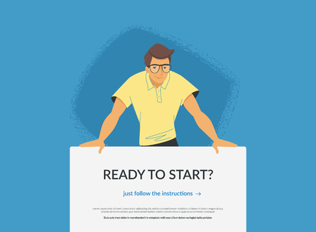 Website banner with invitation to web or mobile services. Flat vector illustration of a friendly man standing behind the banner and suggesting elearning classes, subscription for news or promo offers Standard-Bild - 110270277
