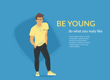 Young student standing alone in casual pose. Flat vector illustration for website and landing page design of friendly teenage character isolated on blue background  イラスト・ベクター素材