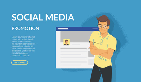 Social media promotion banner. Flat vector illustration for website and landing page design of friendly teenage student standing in casual pose near social networks webpage Standard-Bild - 107756928