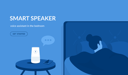 Smart speaker in the bedroom. Flat vector illustration of woman sleeping in the bed asking something the white home smart speaker with integrated virtual assistant. Blue concept design with copy space Standard-Bild - 110270279