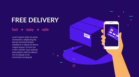 Free delivery for clients how pay by credit card via mobile app. Flat vector neon website template and landing page design of human hand holds smart phone and paying online by card using ecommerce app Standard-Bild - 107764497
