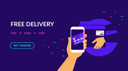 Free delivery for clients how pay by credit card via mobile app. Flat vector neon website template and landing page design of human hand holds smart phone and paying online by card using ecommerce app Standard-Bild - 111012218