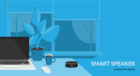 Smart speaker controls the routine. Flat vector illustration for mockup design of black home smart speaker with integrated virtual assistant at the workdesk with laptop in the room interior Standard-Bild - 110270280