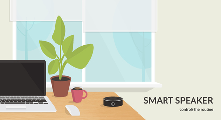 Smart speaker controls the routine. Flat vector illustration for mockup design of black home smart speaker with integrated virtual assistant at the workdesk with laptop in the room interior Standard-Bild - 111012219
