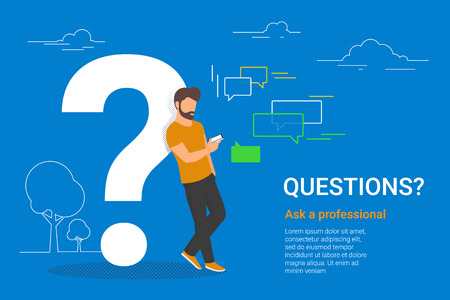 Young man standing near big question symbol and texting to live chat using smartphone, asking for help via internet. Flat line vector illustration of online support on white background with dots Standard-Bild - 111012223