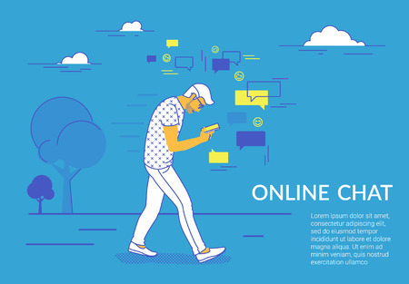 Man walking in park using smartphone to send messages in social media. Flat vector illustration for website and landing page design of people addicted to online chat, network, likes and reposting news Standard-Bild - 110270281