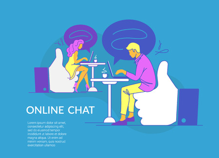 Online chat concept vector illustration of young couple sitting on thumbs up symbols and using laptop messenger. Modern line design of guy and girl typing messages in social media and dating service Standard-Bild - 110270283