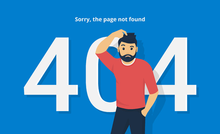 404 error concept vector illustration of sorry man standing near page not found symbol. Flat confused man and white characters 404 on blue background with the text describing problems with website