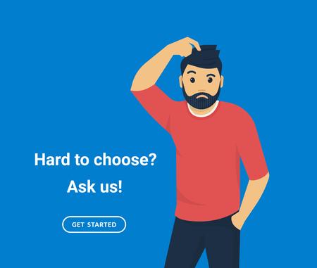 Verwirrter Mann kratzt sich am Kopf, er weiß nichts oder zweifelt nicht. Flache Vektorgrafik des jungen Mannes braucht professionelle Hilfe oder Unterstützung auf blauem Hintergrund.