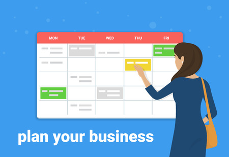 Schedule planner concept vector illustration of young woman standing near big calendar and planning working week. Flat design of business people fulfilling work schedule for effective task management Standard-Bild - 111012233