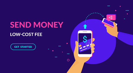 Send money low-cost fee flat vector neon illustration for web and mobile design with text and button. Man sending money from credit card on smart phone to his friend mobile wallet via mobile app Standard-Bild - 109776899