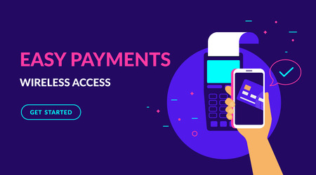 Pay by credit card in your mobile wallet wirelessly and easy flat vector neon illustration for web banner. Illustration of wireless mobile payment by phone connected credit card via POS terminal. Standard-Bild - 109776900