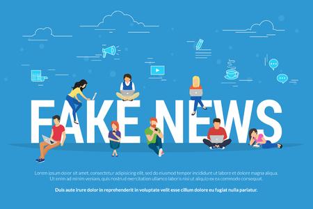 Notizie false e concetto di fabbricazione di informazioni piatto illustrazione vettoriale di giovani che utilizzano laptop, tablet e smartphone per leggere post falsi nei social network e sito Web di ultime notizie Vettoriali