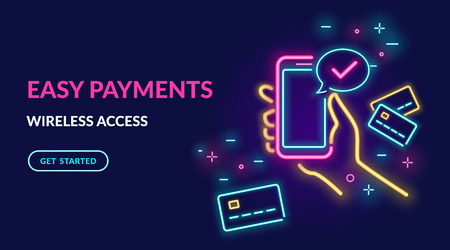 Neon sign of payment by credit card via electronic wallet wirelessly and easy. Bright vector neon light illustration of online mobile paying by phone credit card connected and check mark speech bubble