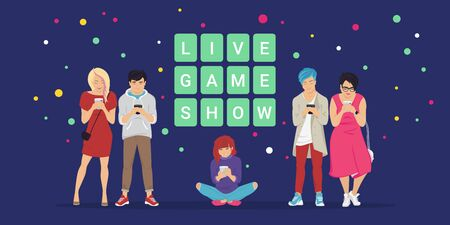 Live game show mobile app concept flat vector illustration of online quiz. Group of teenagers using mobile smartphone app answering trivia questions and solving words to win cash prizes.