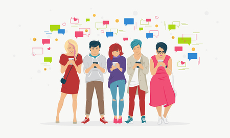 Chat speech bubbles for texting, leaving comment and memes concept flat vector illustration of young teenagers using mobile smartphone for chat texting in messenger app. People standing with bubbles