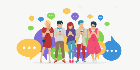 Chat speech bubbles for texting, leaving comment and memes concept flat vector illustration of young teenagers using mobile smartphone for chat texting in messenger app. People standing with bubbles Stock Vector - 125625654