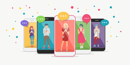 Smart phone addiction concept flat vector illustration of teenagers inside the mobile smartphones with chat speech bubbles texting, leaving comment and sharing memes. Young people addicted to internet Stock Vector - 125625655