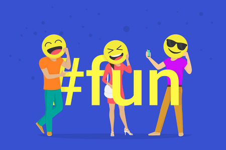 Hashtag fun concept flat vector illustration of emoji smiling heads. Happy man and woman holds emoji heads and take photos for networks. Flat fun people laughing with emoticons and a joyful mood Standard-Bild - 116513373