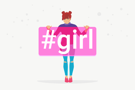 Hashtag girl concept flat vector illustration of happy teenager smiling and holding a banner with hashtag for social media. Positive young teenage character wearing casual clothes isolated on white Standard-Bild - 116513374