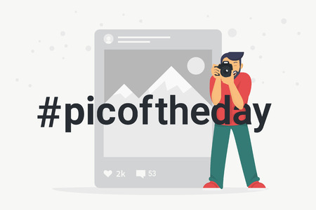 Hashtag picture of the day concept flat vector illustration of photographer taking a photo using camera. Banner design for posting and sharing pics and media in social networks