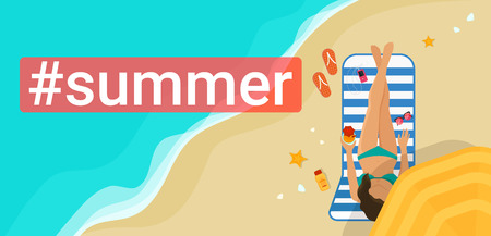 Hashtag summer concept flat vector illustration of woman sunbathing on the beach and relaxing under umbrella drinking a cocktaile. Flat vector illustration top view of people on vacation Standard-Bild - 116513375