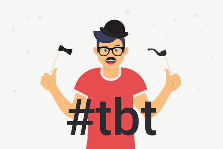 Hashtag tbt concept flat vector illustration of happy guy with photo booth elements such as mustache, glasses and black hat. Smiling man posting image throwback Thursday to indicate his old photo