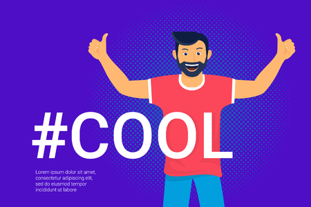 Hashtag cool concept flat vector illustration of happy guy smiling and making thumbs up with both hands. Positive mood and I like it emotions for social networks banners and events hashtag