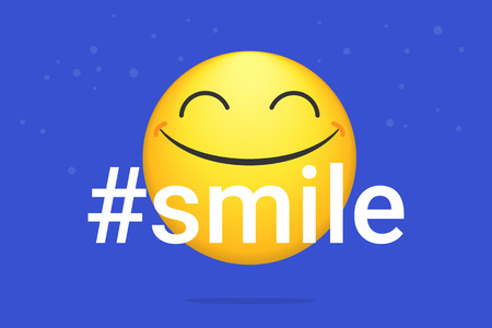 Hashtag smile bright vector concept illustration of smiling emoji icon for chat, messengers and networks. Flat positive emotion symbol isolated on blue neon background Standard-Bild - 117329359